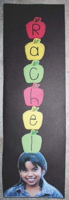 "Apple activities: Apple crafts: The ""Apples Up on Top"" Name Activity involves math, reading, science and writing, plus completed projects make an adorable back-to-school bulletin board! September Preschool, Fall Preschool, Preschool Literacy, Kindergarten Classroom, Classroom Activities, School Icebreakers, Preschool Apples, March, Kindergarten Apples"
