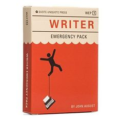The Writer Emergency Pack. Clever cards to help you get unstuck when you hit writer's block. Perfect gift idea for writers and aspiring authors. Emergency Packs, Card Writer, Screenwriting, Deck Of Cards, Creative Writing, Card Games, Game Cards, Gift Guide, Best Gifts