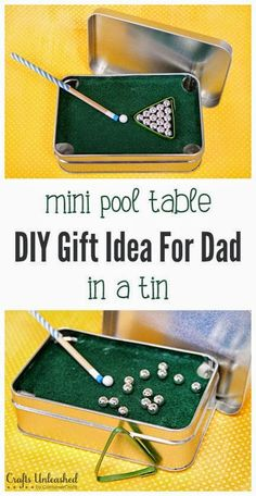 DIY GIFT FOR DAD: MINI POOL TABLE IN A TIN