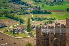 Castell'Arquato is an italian medieval village located in Val D'Arda, in the province of Piacenza. Thanks to its authentic medieval features it was the location of the movie 'Ladyhawke'. Emilia-Romagna, Italy. | #stockphotos #gettyimages #print #travel
