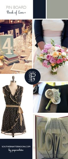 Book of Love Pinboard by Paperwhites, a stationery boutique.  What a sweet collection of navy blue and slate gray surrounding a theme of books!  Love the cardigan with the wedding dress!