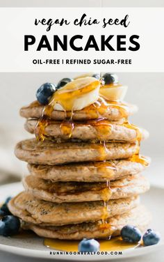 These popular vegan chia seed pancakes are oil-free, refined sugar-free and perfectly light and fluffy. Try them for your next Sunday pancake breakfast topped with banana, blueberries and pure maple syrup. Sugar Free Pancakes, Tasty Pancakes, Healthy Muffins, Healthy Foods To Eat, Healthy Dinner Recipes, Healthy Snacks, Vegan Recipes, Healthy Eating, Healthy Hair