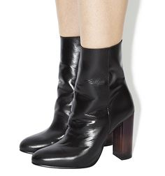 Office Immense High Cut Ankle Boots Black Leather Perspex Heel - Ankle Boots