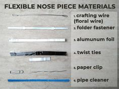Flexible Nose Piece Materials For A DIY Face Mask mask pattern Easy Face Masks, Diy Face Mask, Paper Face Mask, Face Diy, 3d Face, Diy Kleidung, Pocket Pattern, Diy Mask, Mask Making