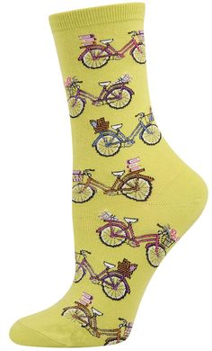 Cool socks with bikes on them - in Kiwi Green