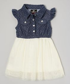Loving this Navy & White Angel Sleeve Dress - Infant, Toddler & Girls on #zulily! #zulilyfinds