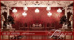 Elegant Red Roses floral backdrop wall stage design and decoration ideas in Pakistan. Tulips Events Management presents you themed baraat stage struct… - Moyiki Sites Wedding Stage Decorations, Engagement Stage Decoration, Reception Stage Decor, Wedding Reception Entrance, Wedding Backdrop Design, Wedding Stage Design, Desi Wedding Decor, Luxury Wedding Decor, Wedding Reception Backdrop