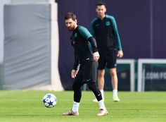 Lionel Messi of Barcelona controls the ball during a FC Barcelona training session on the eve of their UEFA Champions League quarter final second leg match against Juventus at FC Barcelona Sports Centre on April 18, 2017 in Barcelona, Catalonia.