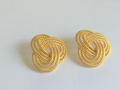 Vintage Gold Tone Earrings Large Love Knot Napier by VintageRenude