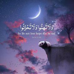 """Don't lose hope and Nor be sad"". Quran Quotes Love, Quran Quotes Inspirational, Allah Quotes, Muslim Quotes, Arabic Quotes, Qoutes, Hadith Quotes, Quotes Quotes, Beautiful Quran Verses"