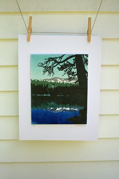 Alpine Lake Hand Pulled Limited Edition by shearmoresheep on Etsy, $55.00
