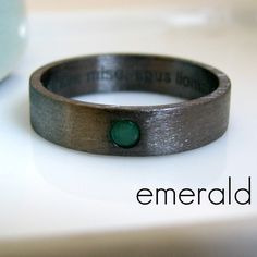 5-6mm Emerald Wedding Band - Black Gold Plated over 925 Sterling Silver - Simple Flat Tube Ring Style - Engravable and customizable by 360JewelsElite on Etsy