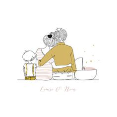 Faire-part de naissance Lovely family (triptyque) by My Lovely Thing pour… - Amandine Gros - Illustration Inspiration, Family Illustration, Cute Illustration, Illustration Mignonne, Family Drawing, 2 Kind, Art Drawings, Kids Room, Doodles