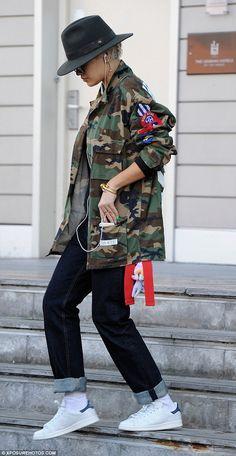 Rita Ora rocks Michael Jackson look after shooting The Voice Sport Fashion, Fashion Photo, Celebrity Sneakers, Rita Ora, Denim Outfit, Adidas Stan Smith, Michael Jackson, Style Icons, Military Jacket