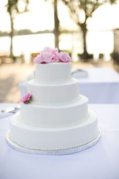 """""""There is beauty in simplicity..."""" Some of the most beautiful wedding cakes are white with a small splash of colour."""