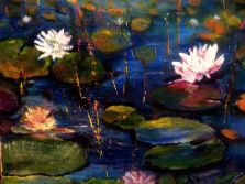 water lillies on the pond - Painting by Isabel Y Macleod
