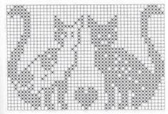 Not in English but you have the grids. Beaded Cross Stitch, Cross Stitch Charts, Cross Stitch Designs, Cross Stitch Embroidery, Cross Stitch Patterns, Filet Crochet Charts, Knitting Charts, Knitting Stitches, Chat Crochet
