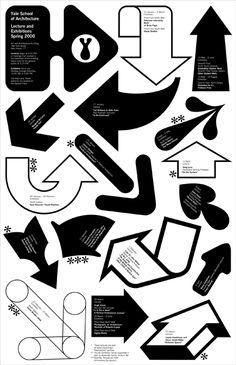 Michael Bierut / Pentagram / Yale School of Architecture / Lectures & Exhibitions / Spring / Poster / 2000 Michael Bierut, Yale School Of Art, Design Observer, Arrow Design, Exhibition Poster, Communication Design, Design Graphique, School Architecture, Graphic Design Illustration
