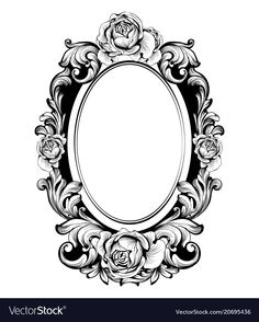 Vintage round frame with rose flowers decor Vector. I… - Mirror Ideas Picture Frame Tattoos, Mirror Tattoos, Filigree Tattoo, Framed Tattoo, Victorian Frame, Vintage Frames, Vintage Frame Tattoo, Carving Designs, Flash Art
