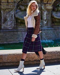 24267aa06f7423 Knee-Length Tartan Skirt 12/2018 #117B. Tartan RöckeWickelnSchnittmuster  RockSportlich ...