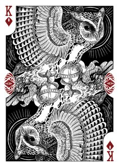 Strigiformes Owls Playing Cards by Renee LeCompte - King of Diamonds  | more here: http://playingcardcollector.net/2014/11/26/owls-strigiformes-playing-cards-by-renee-lecompte/