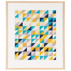 Geometrix Print 77x91cm Freedom blues & grey with pops of yellow