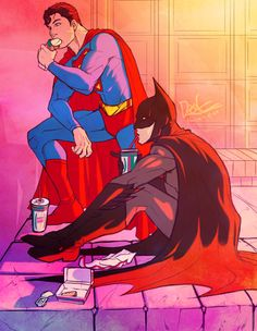 """The picture is titled """"On a Stake Out"""" but I like to believe they'd totally hang. Gettin shawarma and shit. Bruce and Clark: BFFs"""