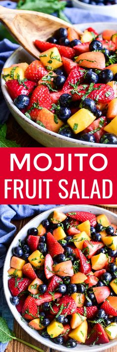 Jazz up your fruit salad with the delicious taste of mojitos!! This Mojito Fruit Salad combines the best summer produce with lime juice, simple syrup, and fresh mint in a yummy salad that's sure to become a new favorite! Best Side Dishes, Side Dish Recipes, Veggie Recipes, Salad Recipes, Best Dessert Recipes, Easy Desserts, New Recipes, Summer Desserts, Amazing Recipes