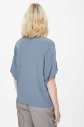 COS image 7 of Top with draped sleeves in Shadow Blue