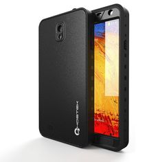 Ghostek Atomic Samsung Galaxy Note 3 Black Waterproof Case W/ Attached Screen Protector - Lifetime Warranty - Slim Fitted Waterproof Shock proof Dust