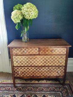 Repurposed Gems: A Stenciled Stained Dresser