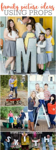 31 family picture ideas using PROPS! Check out all these fun family picture ideas!! The props are a great way to define your family's style!