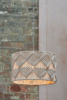 Next Macrame Easy Fit Shade - Cream easy Ceiling Lights Macrame Design, Macrame Art, Macrame Projects, Macrame Knots, Luminaire Led, Diy Chandelier, Macrame Patterns, Light Fittings, Hanging Lights