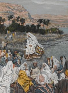 James Tissot (French, 1836–1902). Jesus Sits by the Seashore and Preaches, 1886–96. Opaque watercolor over graphite on gray wove paper, 103⁄16 x 79⁄16 in. (25.9 × 19.2 cm). Brooklyn Museum, Purchased by public subscription, 00.159.109
