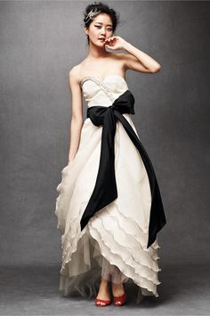 BHLDN wedding dress Tulip Gown with black stiching - my kind of gown, especially with the shoes showing