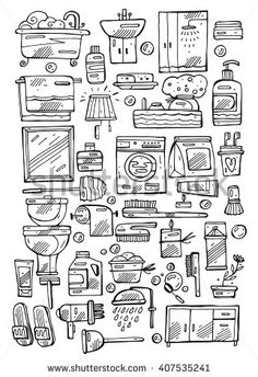 Hand drawn vector line Bathroom icon set in black and white. - stock vector