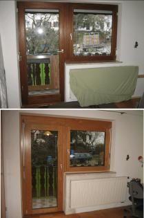 Balkontür und Fenster aus Holz und Balkontür und Fenster aus Holz-Aluminium -------------- door and window made of wood and door and window made of wood-aluminium