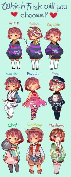 "My favorite is probably. Mostly because Pacifist Run Chara is great! (Although I have to say I love the descriptions. You can go from ""ballerina"" or ""nerd"" or ""play date"" right over to flat-out ""MURDERER"" and I'm crying from laughter) Undertale Souls, Undertale Undertale, Undertale Cosplay Frisk, Frisk Fanart, Chibi, Fan Art, Toby Fox, Bubbline, Underswap"