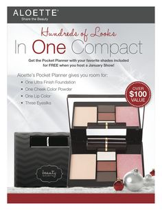 Be an Aloette Hostess in January and receive this FANTASTIC makeup organizer Pocket Planner with your choice of colours FREE!! Time is running out, please contact Cyndiguttuso@yahoo.com to host your show.