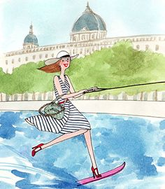 Ski nautique sur la Seine My Little Paris, Pretty Drawings, Cartoon People, Paris Art, Santa Lucia, Little Boxes, Illustrations, Happy Weekend, Happy Girls