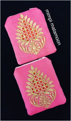 Pink Chanderi Coin Pouches MYR25 each