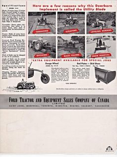 FORD DEARBORN Utility Blade Ad Vintage Tractors, Antique Tractors, Vintage Farm, 8n Ford Tractor, Ford Trucks, Tractor Accessories, Tractor Implements, Tractor Attachments, Garden Equipment