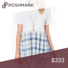 **1 DAY SALE!!** Fall Blue & White Plaid Top *All offers considered!* Tops Tees - Short Sleeve