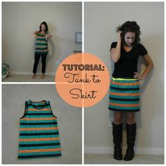 Little Miss Kimberly Ann: Refashion: Oversized Boy's Tank to Skirt   Simple tutorial on taking a boys or mens tank T-Shirt into a cute skirt.