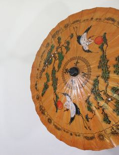 Vintage Asian Parasol Umbrella - Bamboo Handle, Hand Painted Brown Paper Oriental Decor Umbrella / Japanese White Cranes by Maejean Vintage on Etsy, $40.00