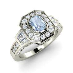 Emerald-Cut Aquamarine Ring in 14k White Gold with SI Diamond,VS Diamond