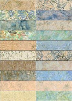 "ISLAND BATIKS ""Spring Melt"" Batik Strip Set, (40) 2 1/2"" x 44"" strips. $35.73, via Etsy."