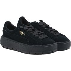 Puma Platform Low Top Sneakers ($115) ❤ liked on Polyvore featuring shoes, sneakers, black, black sneakers, black leather trainers, black leather shoes, leather shoes and leather platform sneakers