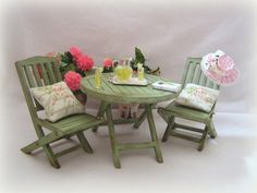 Dollhouse Garden or Patio distressed Table and by MiniAbuela,