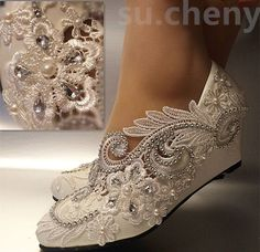 White ivory wedge pearls lace crystal Wedding shoes Bridal high heels pumps size in Clothing, Shoes & Accessories, Wedding & Formal Occasion, Bridal Shoes Lace High Heels, High Heel Pumps, Pump Shoes, Wedge Heels, Ivory Sandals, Wedge Wedding Shoes, Wedding Heels, Bridal Heels, Pearl And Lace